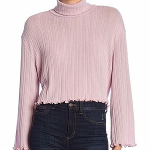🌵 Abound Pink Lettuce Hem Turtleneck Ribbed Top